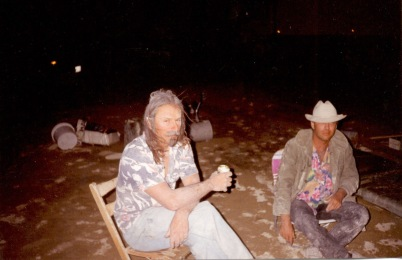John Law & Larry Harvey in the mud after the 1993 wind & rain storm